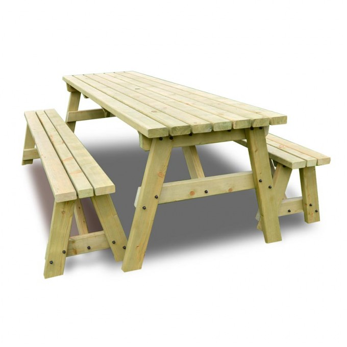 Wooden Garden Benches B Q: Langdale Picnic Table And Bench Set