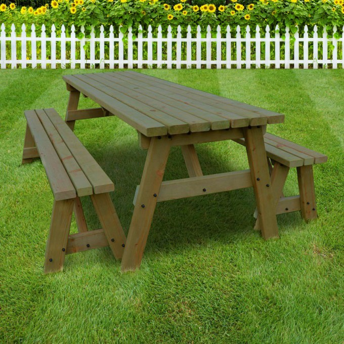 Langdale Picnic Table And Bench Set Rounded & Langdale Picnic Table And Bench Set - Picnic Benches - Garden Furniture